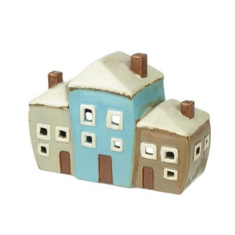 Ceramic Three Houses Tea Light Holder