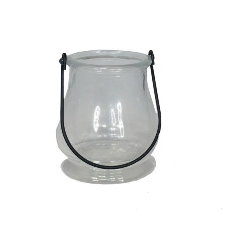 Plain Glass Tealight Holder With Handle
