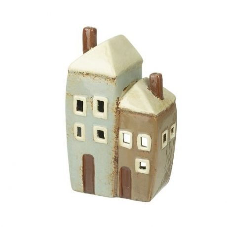 Two Ceramic Houses Candle Holder